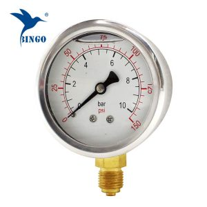 60mm فولاد ضد زنگ مورد اتصال برنج پایین نوع فشار سنج 150PSI روغن پر فشار سنج